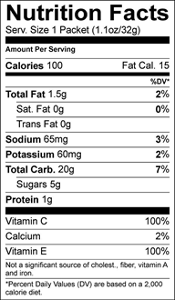 Peanut Butter GU Nutrition Label