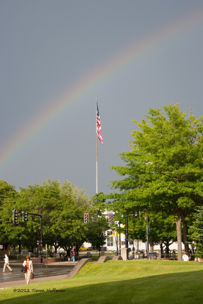 Rainbow over Veteran's Park, Manchester, NH